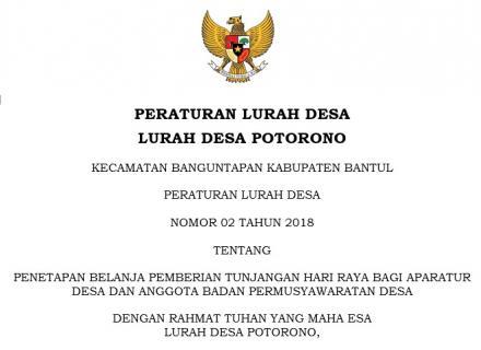 Peraturan Lurah Desa Potorono Nomor 02 Tahun 2018
