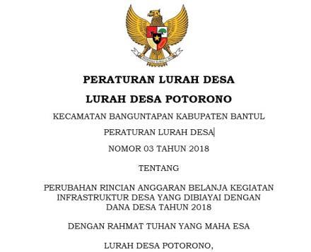 Peraturan Lurah Desa Potorono Nomor 03 Tahun 2018