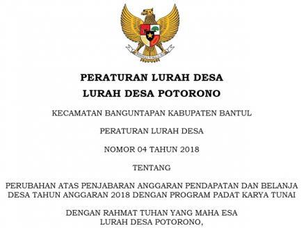 Peraturan Lurah Desa Potorono Nomor 04 Tahun 2018