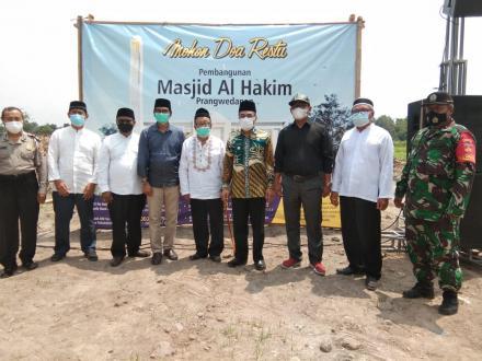 Lurah Potorono Sambut Bupati Bantul dalam Acara Peletakan Batu Pertama Masjid Al-Hakim